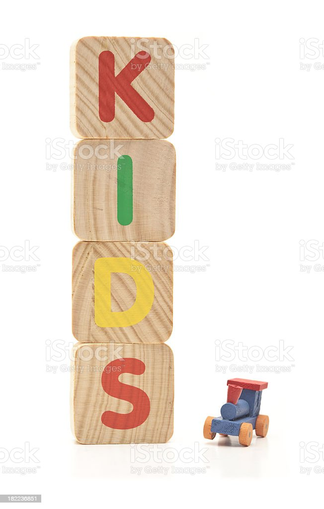 Kids written with letter blocks royalty-free stock photo