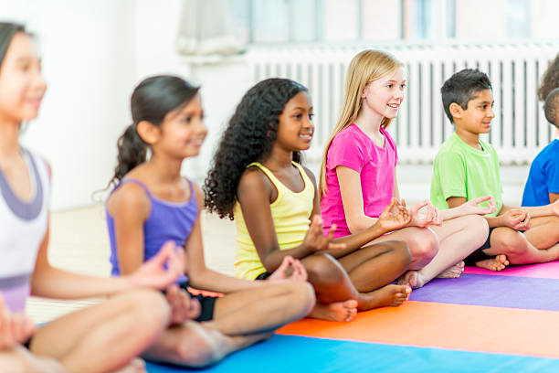 Kids Yoga Stock Photo