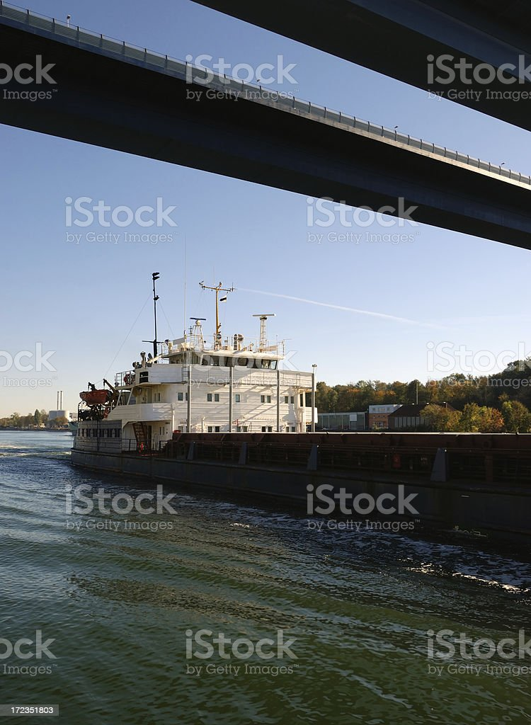 kiel canal and suspension bridge royalty-free stock photo