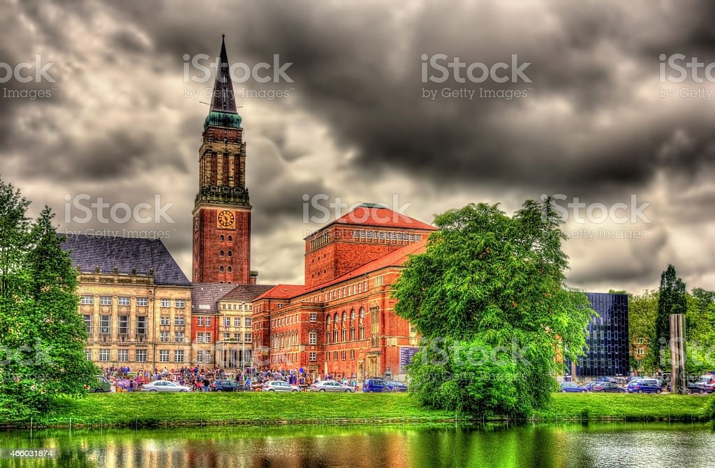 Kiel city hall with reflection from a water surface stock photo