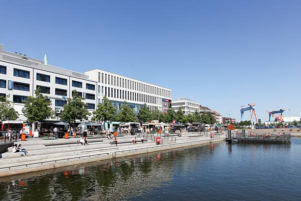 kiel downtown and harbor in germany - kiel stock-fotos und bilder