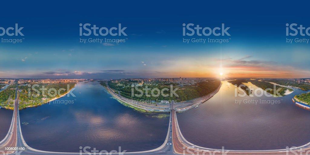 Kiev bridge aerial view. A large 360 degrees panorama of Kiev over the metro bridge towards the Khreshchaty Park and the Kiev-Pechersk Lavra stock photo