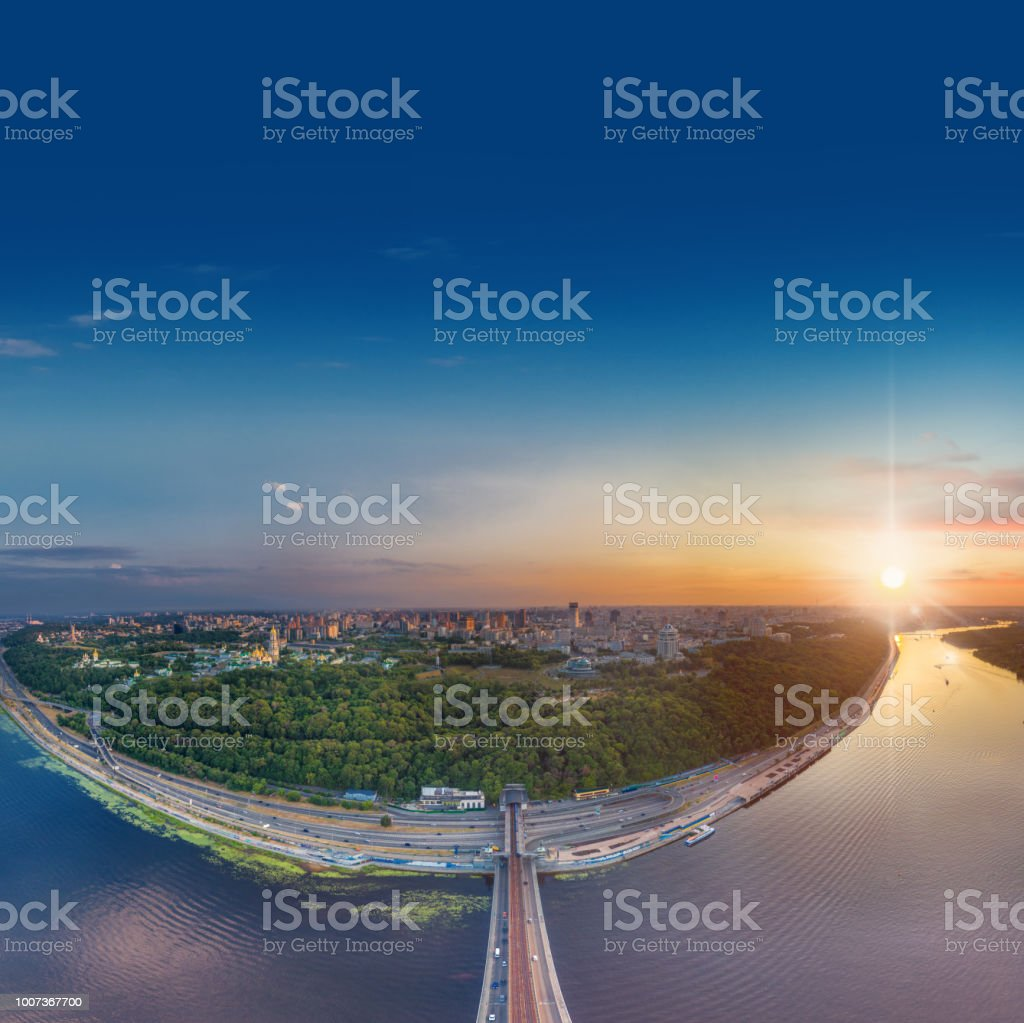 Automobile and subway bridge in Kiev, the capital of Ukraine. Bridge...