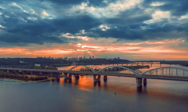 Kiev bridge aerial view. Panorama stock photo