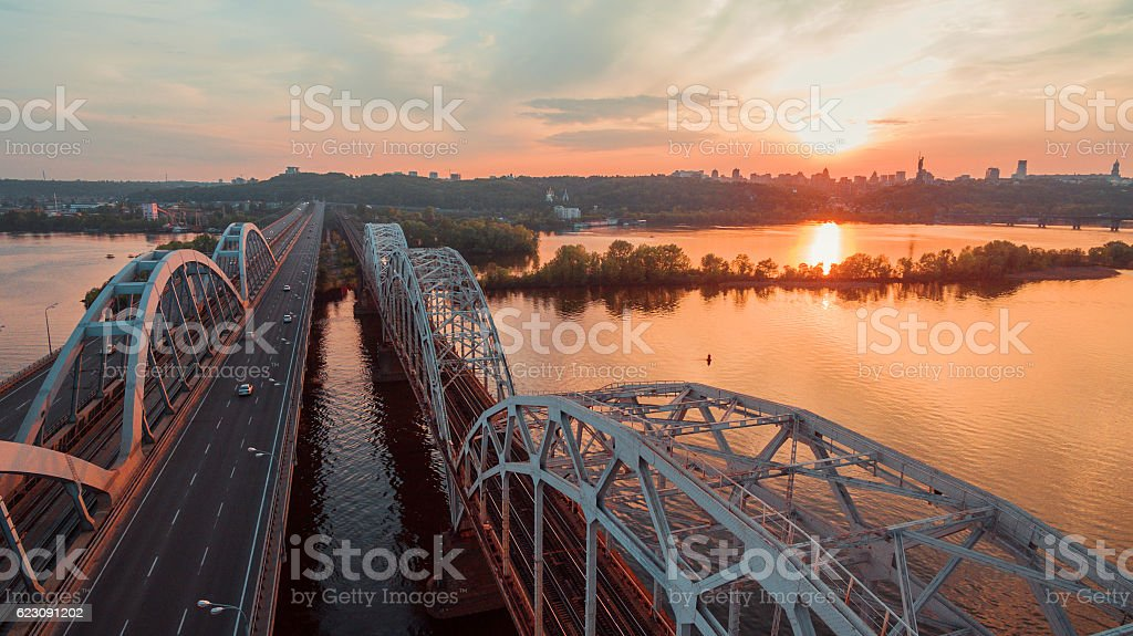 Kiev bridge aerial view stock photo