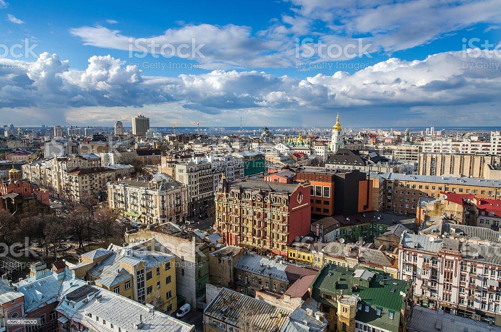Kiev city day view, panorama Kiev, Ukraine stock photo