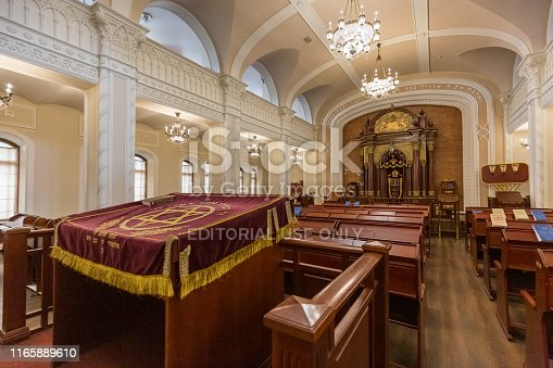 Kiev, Ukraine - July 18 2019: Brodsky Choral Synagogue interior. Jewish religion