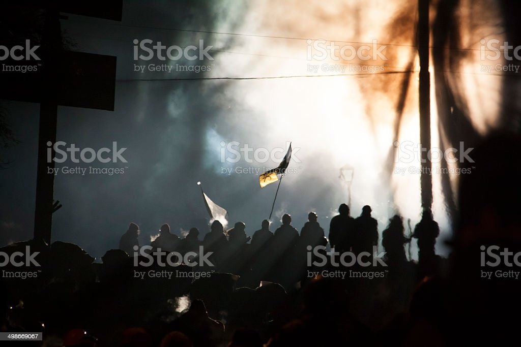 kiev street during revolution full of people with flag stock photo