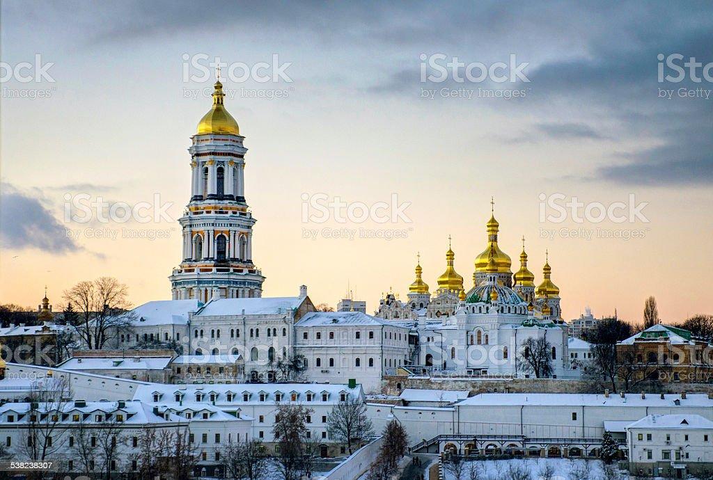 Kiev-Pechersk Lavra in the evening stock photo