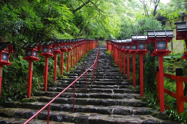 Kifune shrine (Kyoto city.Japan) Kifune shrine's god is Taka-Okami-no-kami.Taka-Okami-no-kami is rules water and weather.Most beautiful season of Kifune shrine is rainy season.I think so. shinto shrine stock pictures, royalty-free photos & images