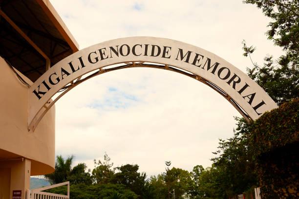 Kigali Genocide Memorial Kigali, Rwanda- May 2017: Entrance sign of the Kigali Genocide Memorial in Kigali Rwanda genocide stock pictures, royalty-free photos & images
