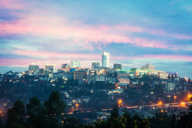 Kigali skyline, Rwanda View of Kigali business district with offices, towers and residential homes, at sunset east africa stock pictures, royalty-free photos & images