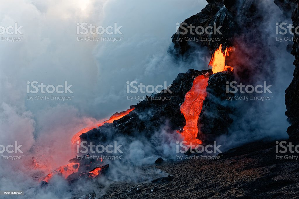 Kilauea Lava Flow entering the Pacific stock photo