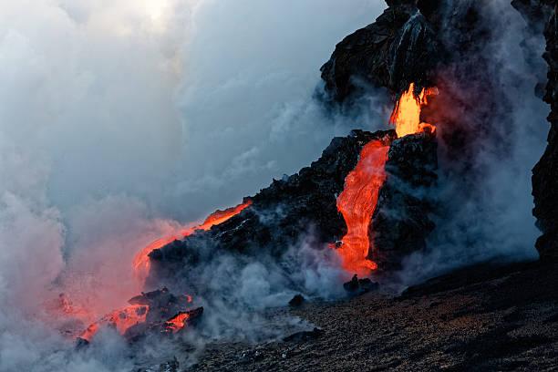Kilauea Lava Flow entering the Pacific stock photo
