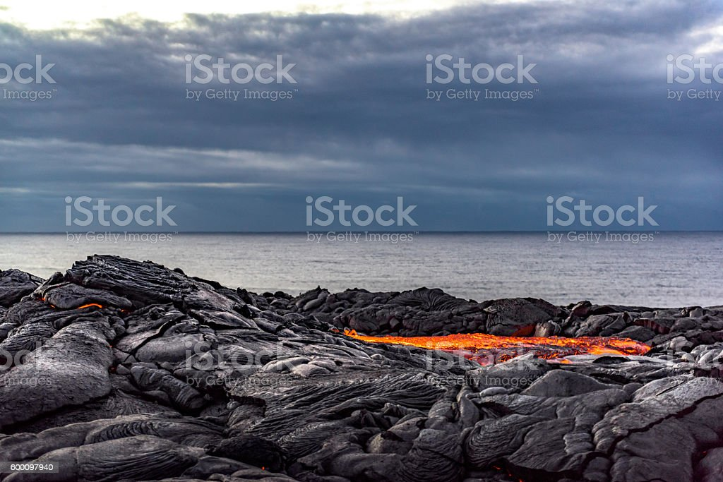 Kilauea lava pool stock photo
