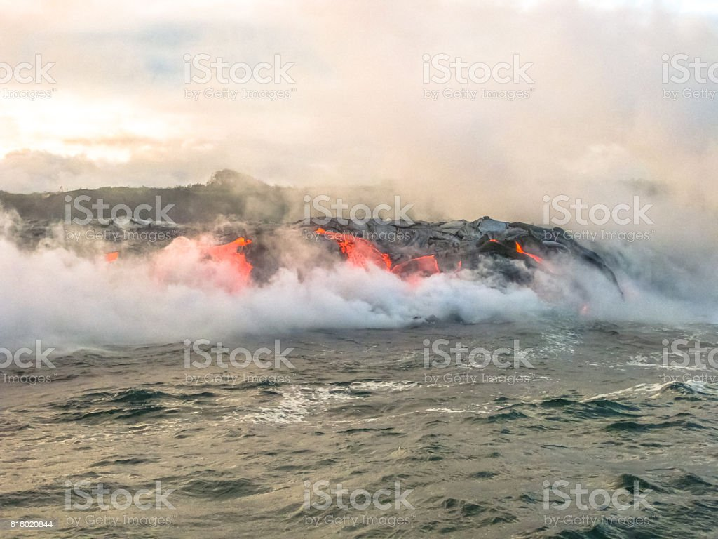 Kilauea Volcano activity stock photo