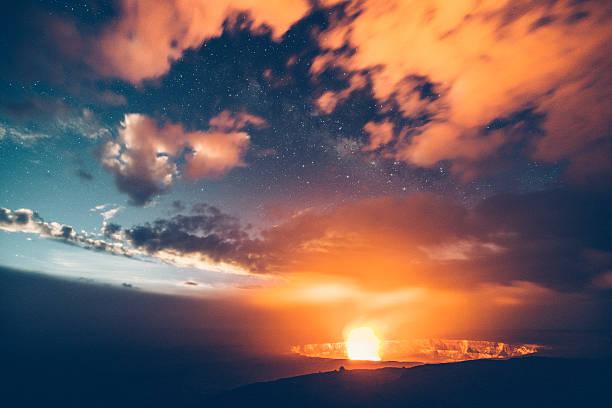 Kilauea Volcano Erupting at Night Hawaii stock photo