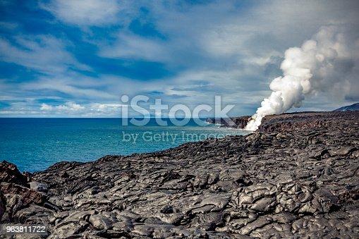 kilauea volcano lava flow into the pacific ocean on big island, hawaii islands, usa.