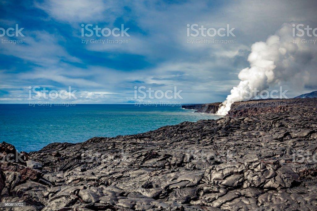 Kilauea Vulkan Lava fließen in den Pazifik, hawaii – Foto