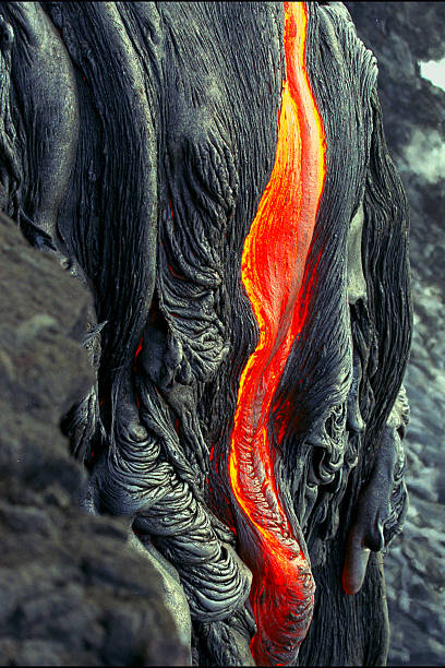 Kilauea Volcano Lava Flow Kilauea Volcano Lava Flow on the Big Island, HI lava stock pictures, royalty-free photos & images