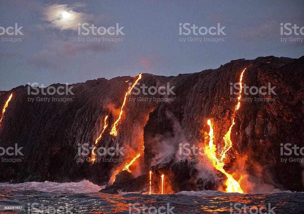Kilauea Volcano Lava Lava from Kilauea volcano entering ocean, Big Island, HI Big Island - Hawaii Islands Stock Photo