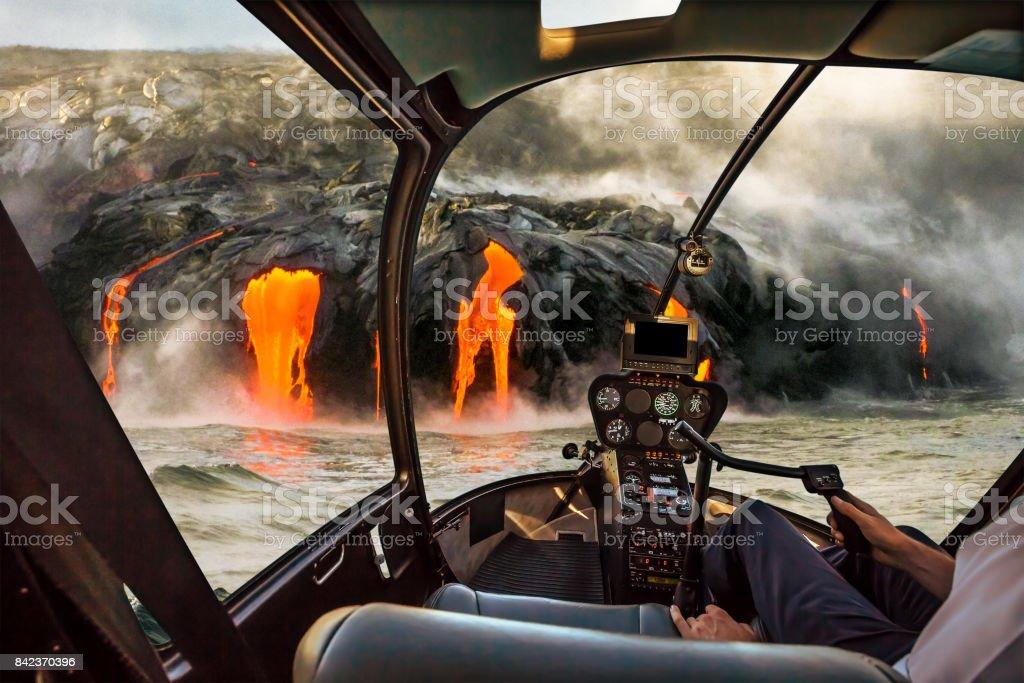 Kilauea Volcano scenic flight stock photo