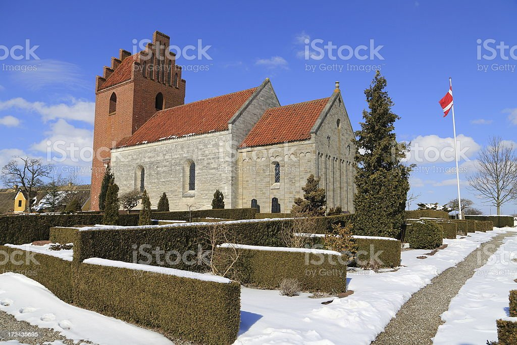 Kildebroende Landsby Kirke parish church royalty-free stock photo