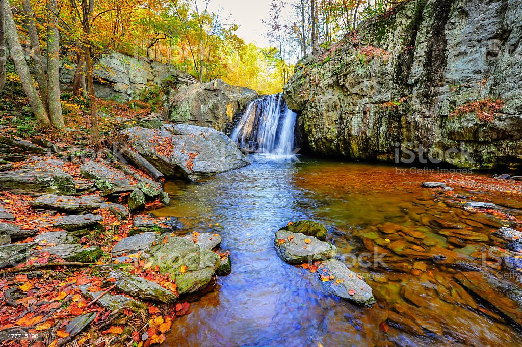 Kilgore Falls in Maryland in Autumn stock photo
