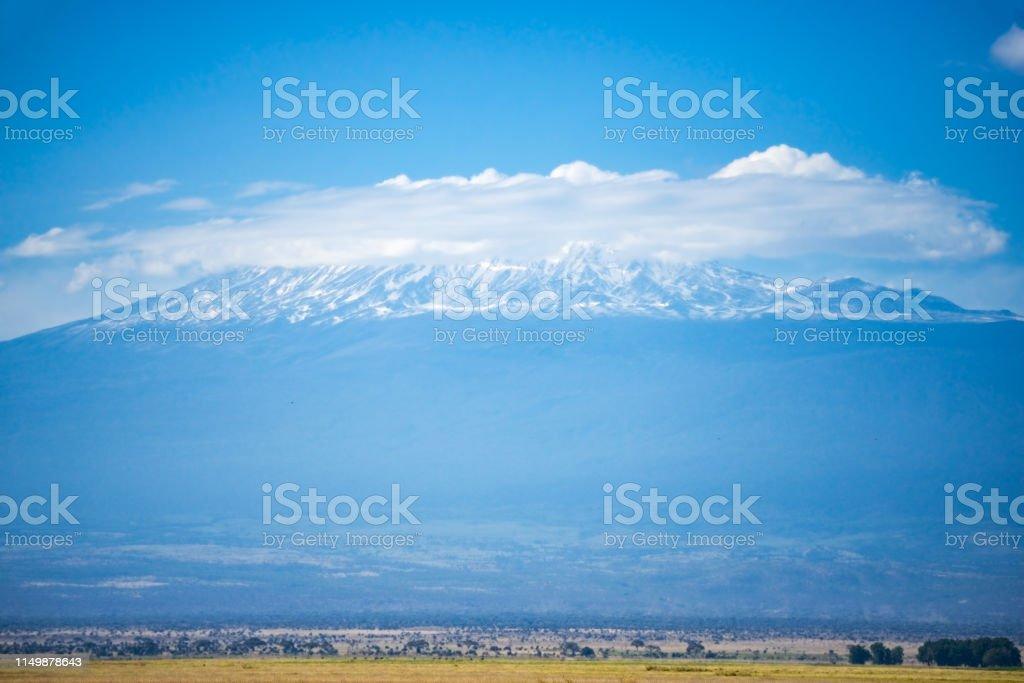Kilimanjaro in cloud stock photo