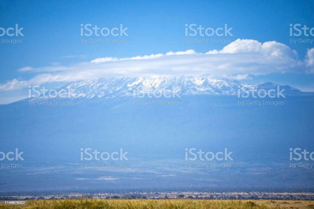 Kilimanjaro mount in cloud stock photo