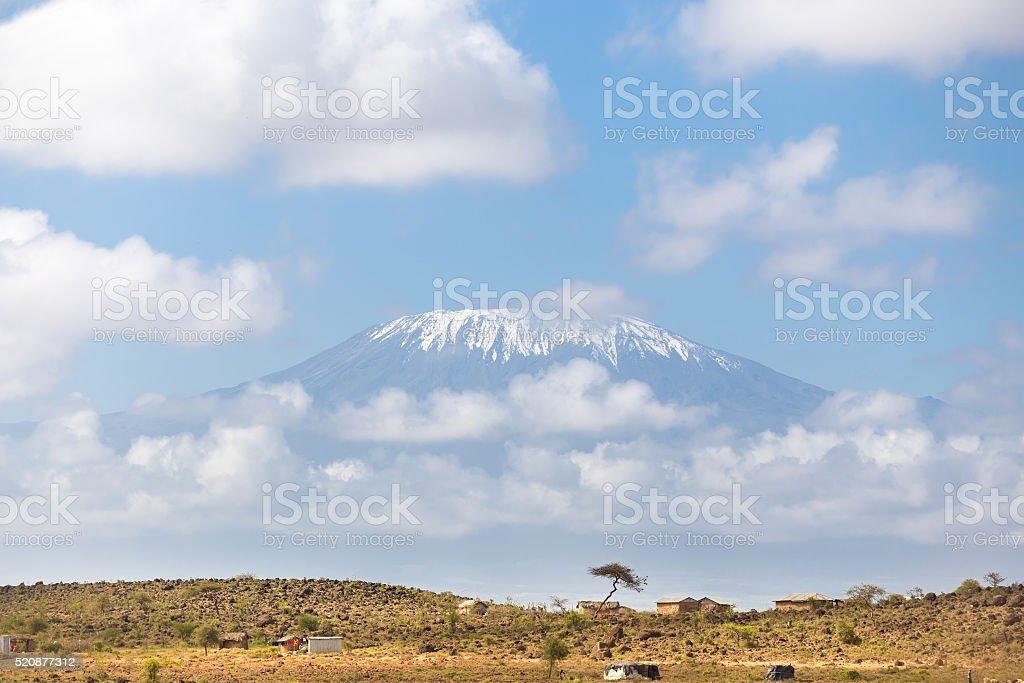 Kilimandscharo Blick auf afrikanischen Savanne. – Foto