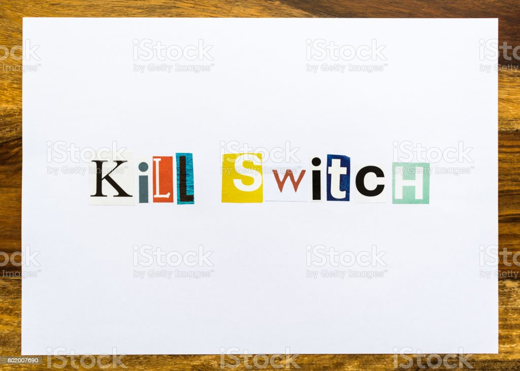 Kill Switch - note on desk stock photo