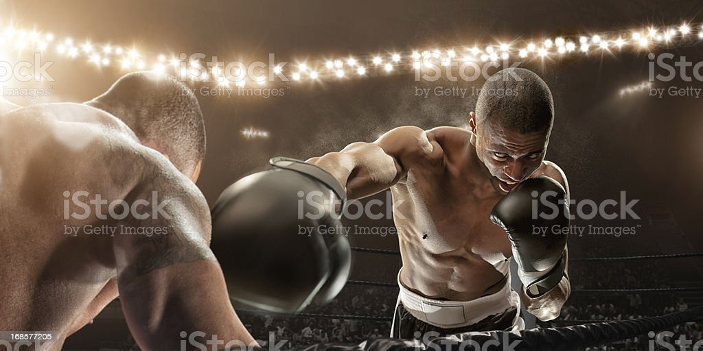 Killer Blow Boxing Action royalty-free stock photo