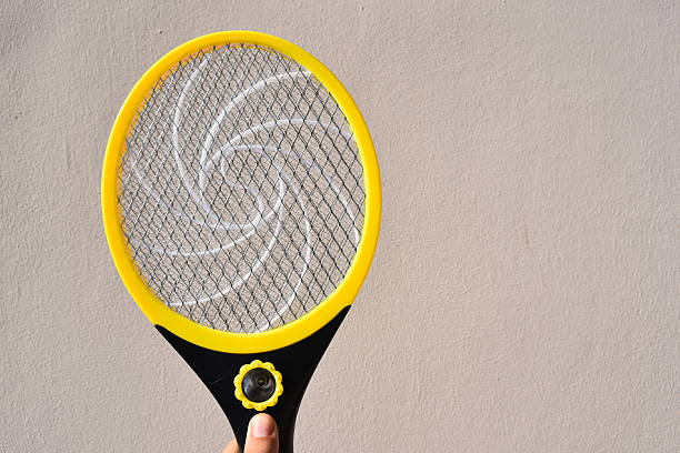 Killer mosquitoes or electronic bug zapper stock photo