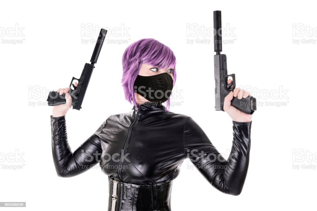 killer ready to shoot, isolated on white backround. stock photo