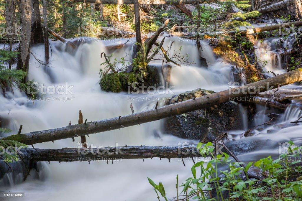 Killpecker Creek in the Laramie Mountains of Northern Colorado. stock photo