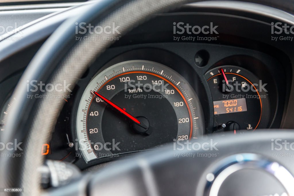 60 Kilometers per hour,light with car mileage,Speed limit,Miles speed car. stock photo