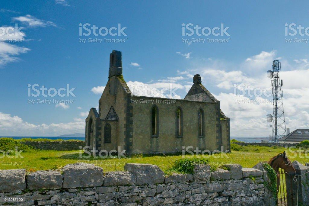 Kilronan Church Ruin, Inishmore, Aran Islands stock photo
