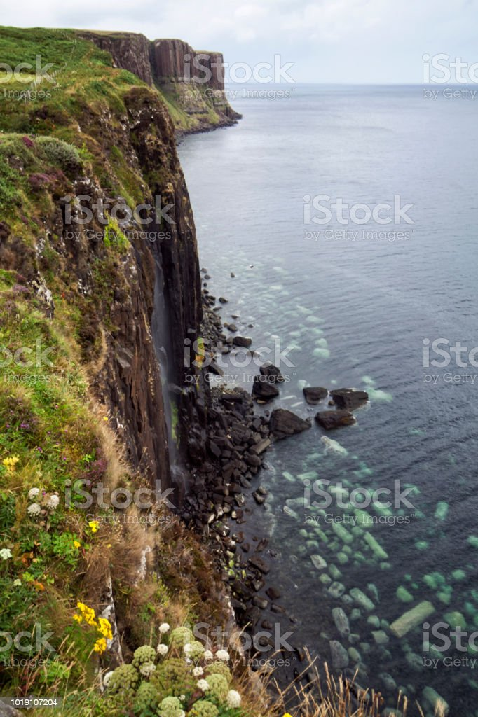 Kilt Rock and Mealt Falls in Isle of skye , Scotland, UK stock photo