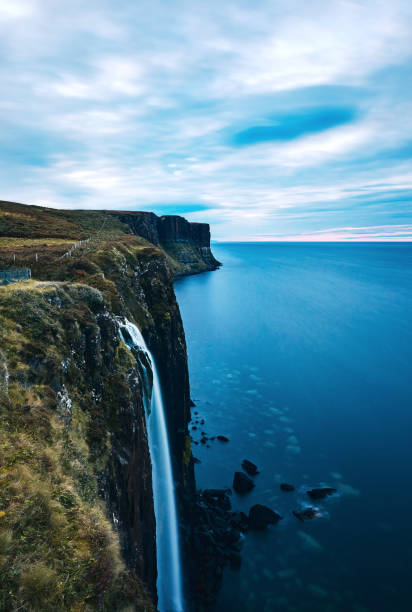 kilt rock waterfall in the isle of skye, scotland - natural landmark stock pictures, royalty-free photos & images