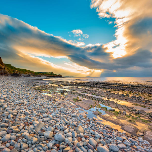 Kilve beach at sunset stock photo
