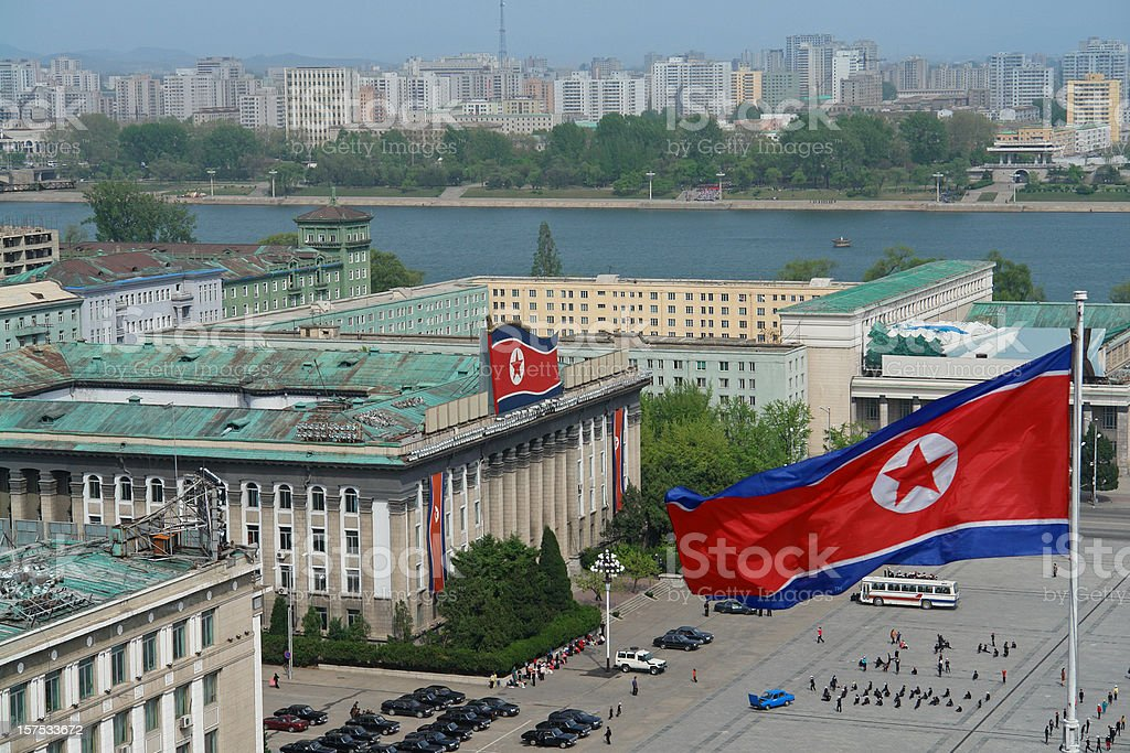 Kim Il Sung Square in Pyongyang stock photo