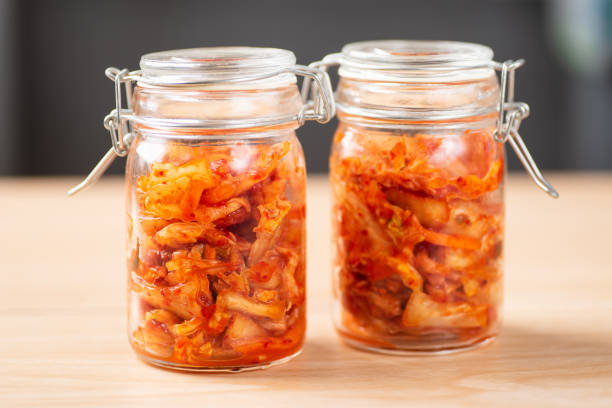 Kimchi cabbage in a jar Kimchi cabbage in a jar, Korean food kimchee stock pictures, royalty-free photos & images