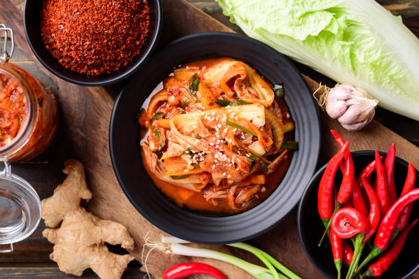 Kimchi cabbage, Korean food stock photo