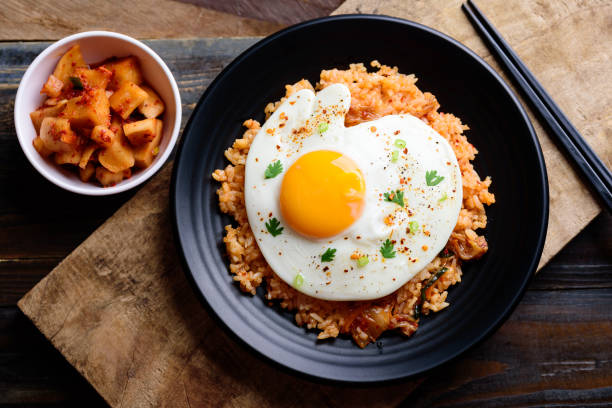 Kimchi fried rice, Korean food stock photo