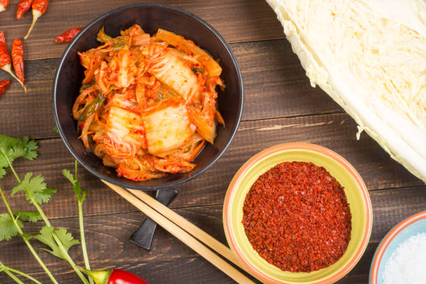 Kimchi korean pickled cabbage stock photo