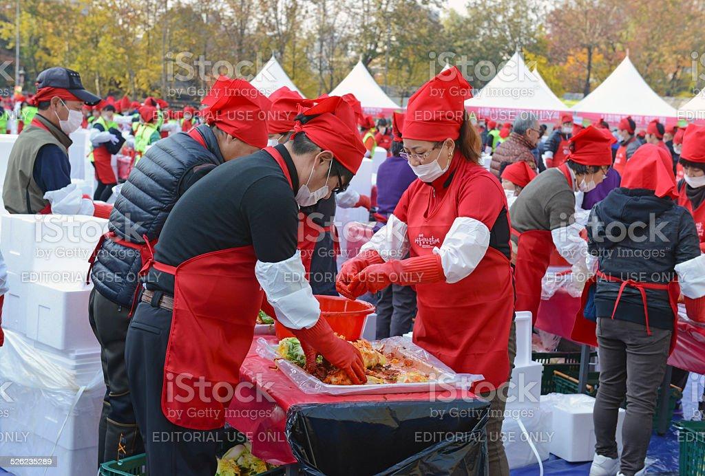 Kimchi Making & Sharing Festival in Seoul Korea stock photo
