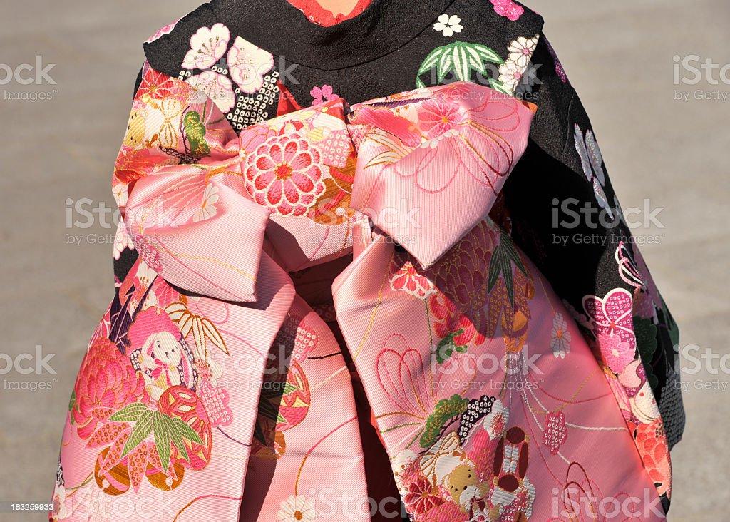 Kimono of a young girl during Shich-go-san festival,Kyoto,Japan stock photo
