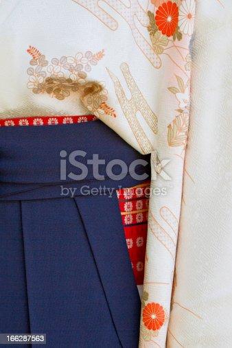 Detail of a woman's kimono with obi (sash) and hakama (overskirt)
