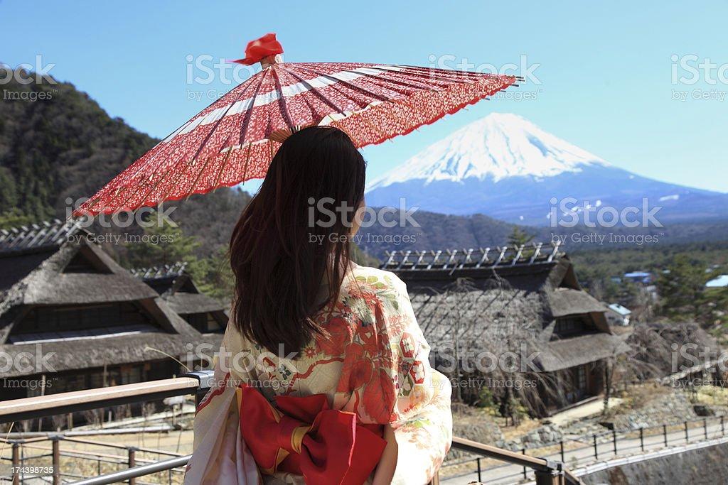 kimono woman with Fuji  mountain stock photo